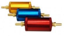 Excelente para motores de alta performance. Nosso filtro de combustível é usinado em torno CNC, atingindo alto nível de acabamento e qualidade. Os anéis orings de vedação são de borracha nitrilica para suportar: Gasolina, Alcool, Metanol ou Diesel. O elemento filtrante é removível, construido em aço inox, é lavavel e não precisa nunca ser substituido. Possue alta vazão de combustível devido a possuir mais aletas do que os elementos de inox encontrados no mercado o que garante uma maior superfície de contato com o combustível. Cores Sob Consulta